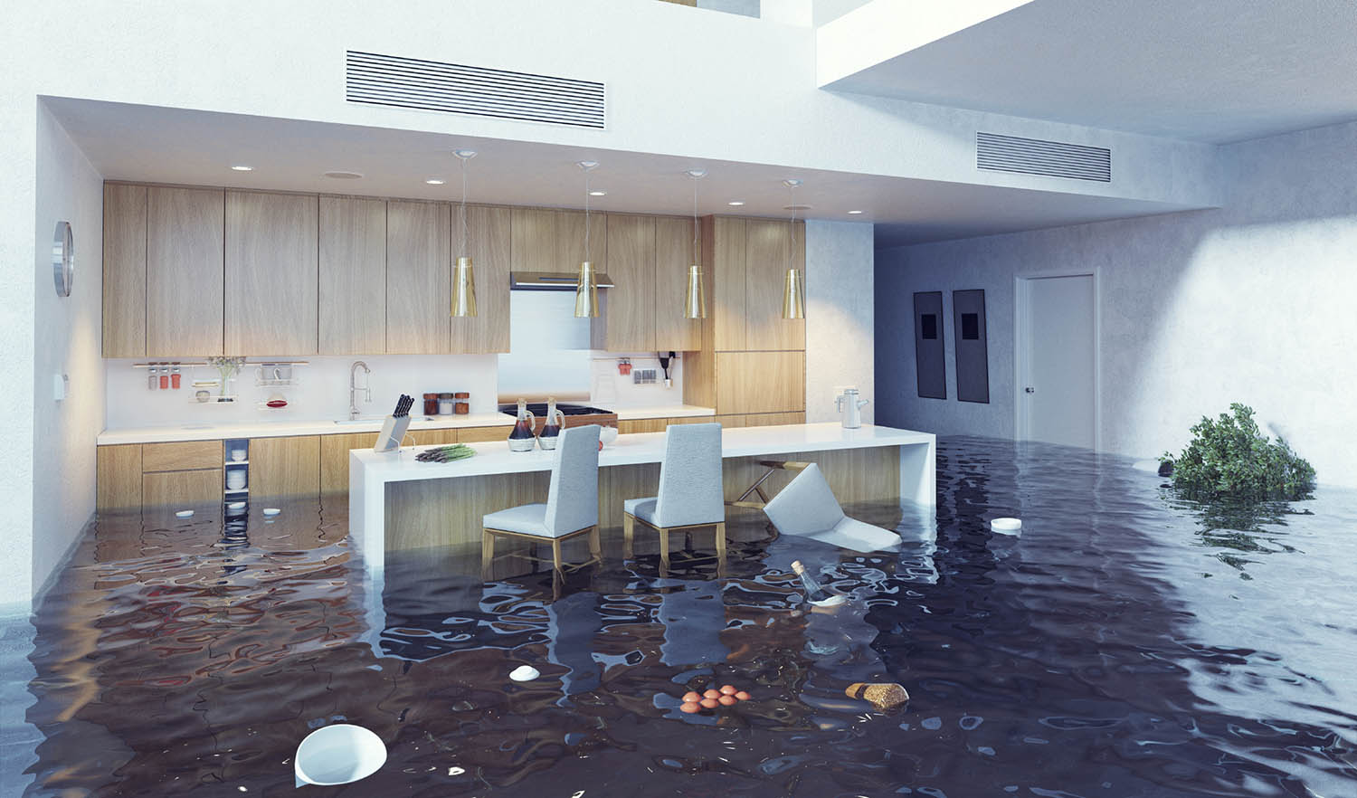 flooding in luxurious kitchen interior. 3d creative concept